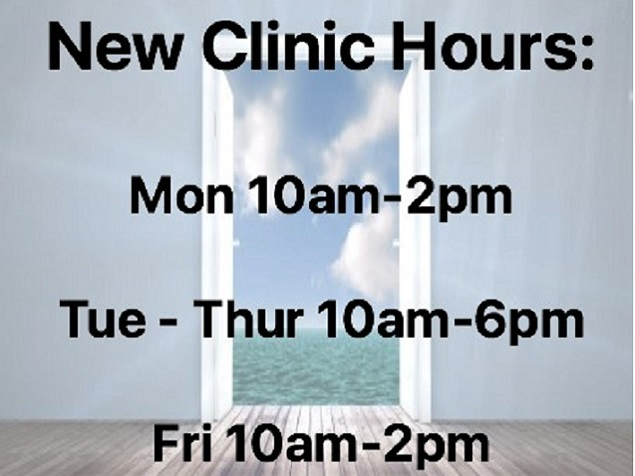 New Clinic Hours Oct 2018